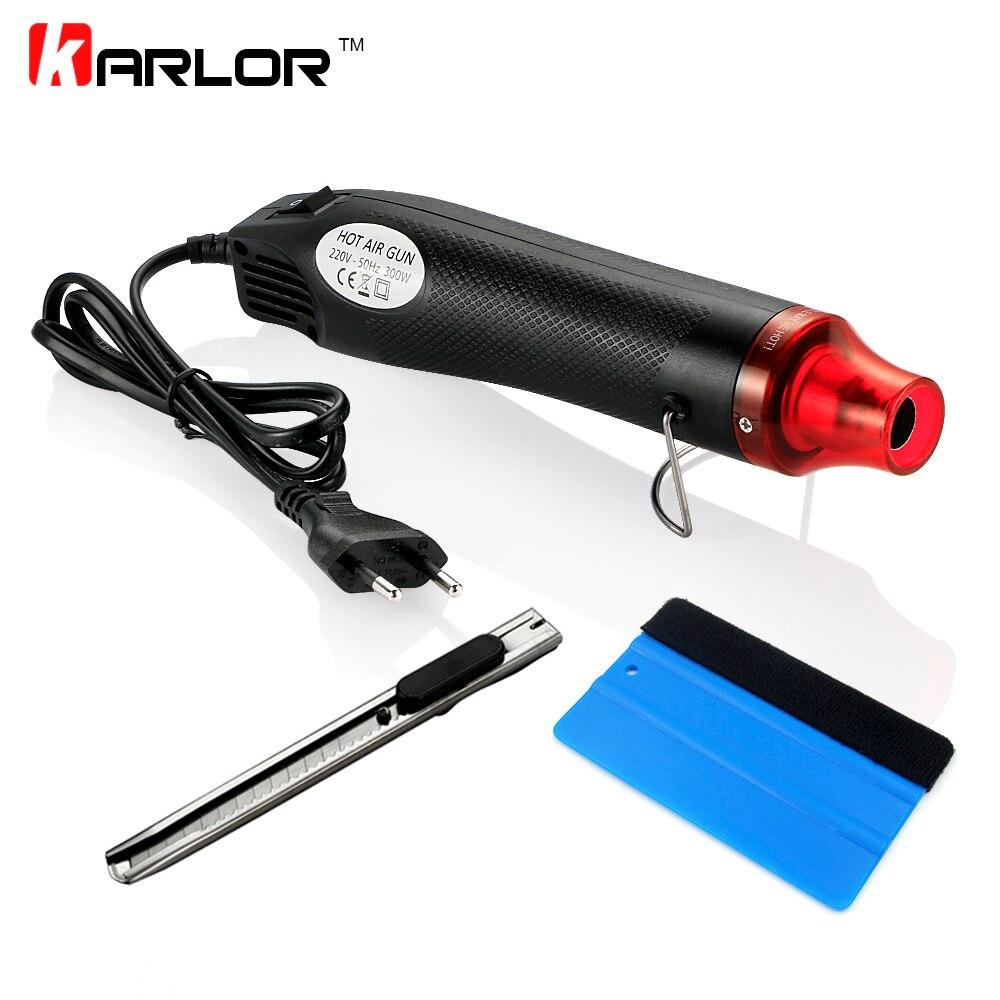 3 teile/satz 220 V 300 Watt Elektrische Heißluftpistole Eu-stecker + Auto Scraper Rakel + Vinyl Cutter messer Auto Auto-vinylfolieneinschlagwerkzeuge