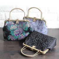 23*18*8cm Vintage Wrapped Yarn Embroidery Fabric Mouth Gold Frame Handbags Material Kit Clutch Bag with Heart Kissing Lock