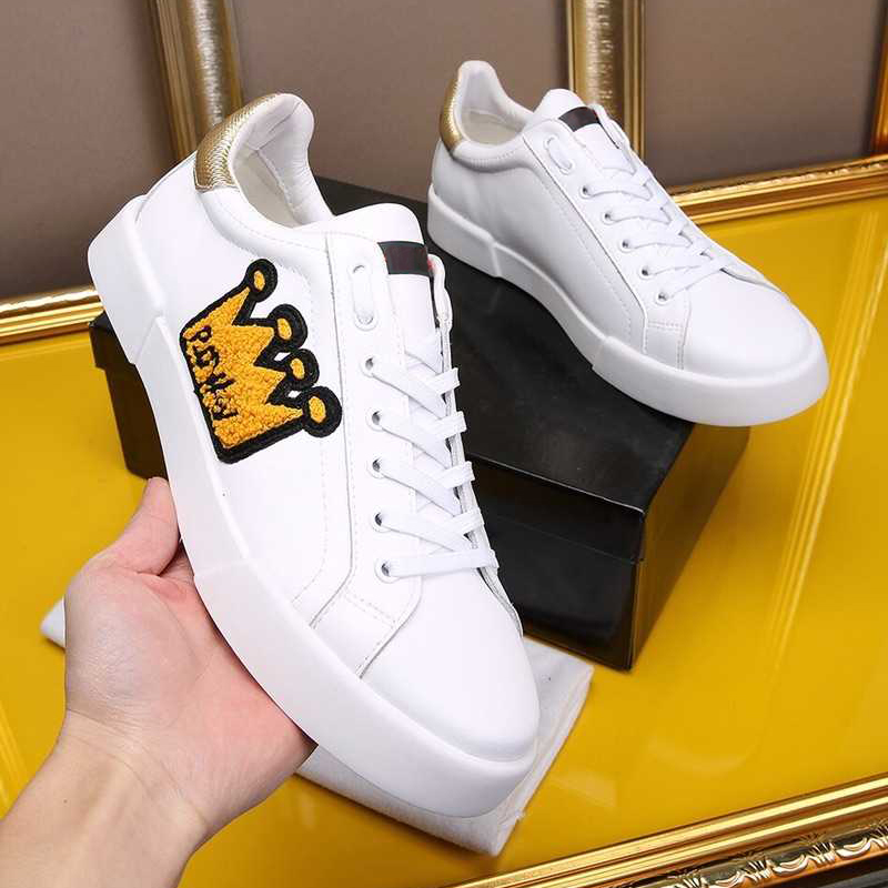 Genuine Leather White Mens Loafers Fashion Embroidery Crown Round Toe Lace Up Men Casual Shoes Trainers Sneakers Flats Shoes Men sexy leopard seude leather mens loafers luxury rivets round toe lace up flats casual shoes trainers ultra boosts tenis feminino