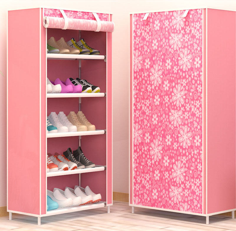 Six Layers DIY Assembly Non woven Cloth Storage Shoe Cabinet ...