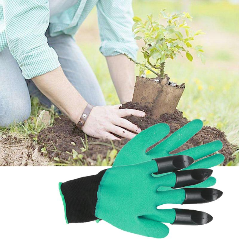 1 Pair Rubber Polyester Builders Garden Gloves Work Latex Gloves Plastic Claws Plastic Claws Safety Working Protective Gloves