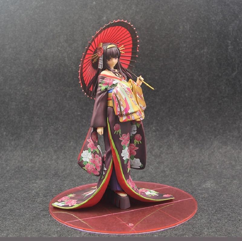 18 cm Anime Saenai héroïne pas de Sodatekata figurine Kasumigaoka Utaha Kimono Ver Xia Shiyu colline modèle parapluie dame décoration