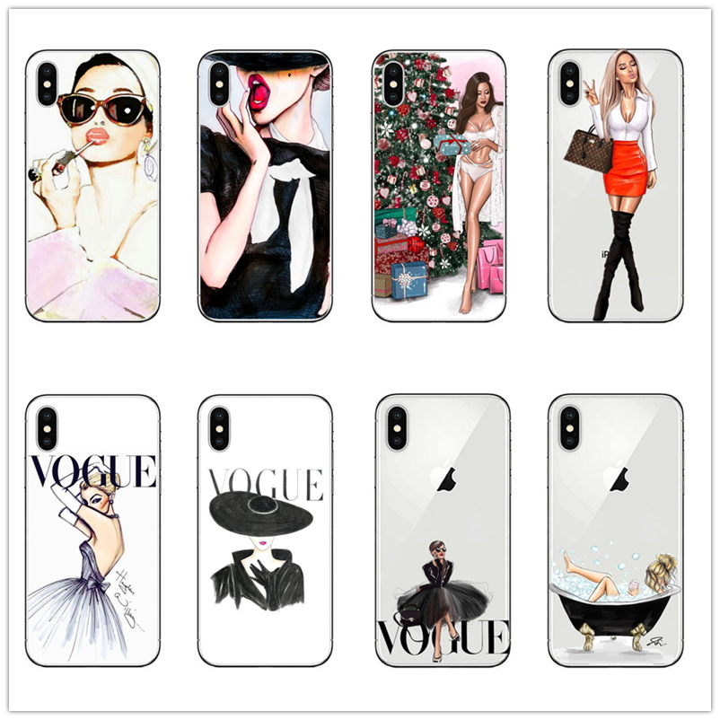 Vogue fashion Charming Painting Women soft SILICONE phone <font><b>case</b></font> cover For <font><b>IPhone</b></font> 5 5s SE 6 <font><b>6s</b></font> 7 8 PLUS X XR XS MAX <font><b>sexy</b></font> girl <font><b>case</b></font> image