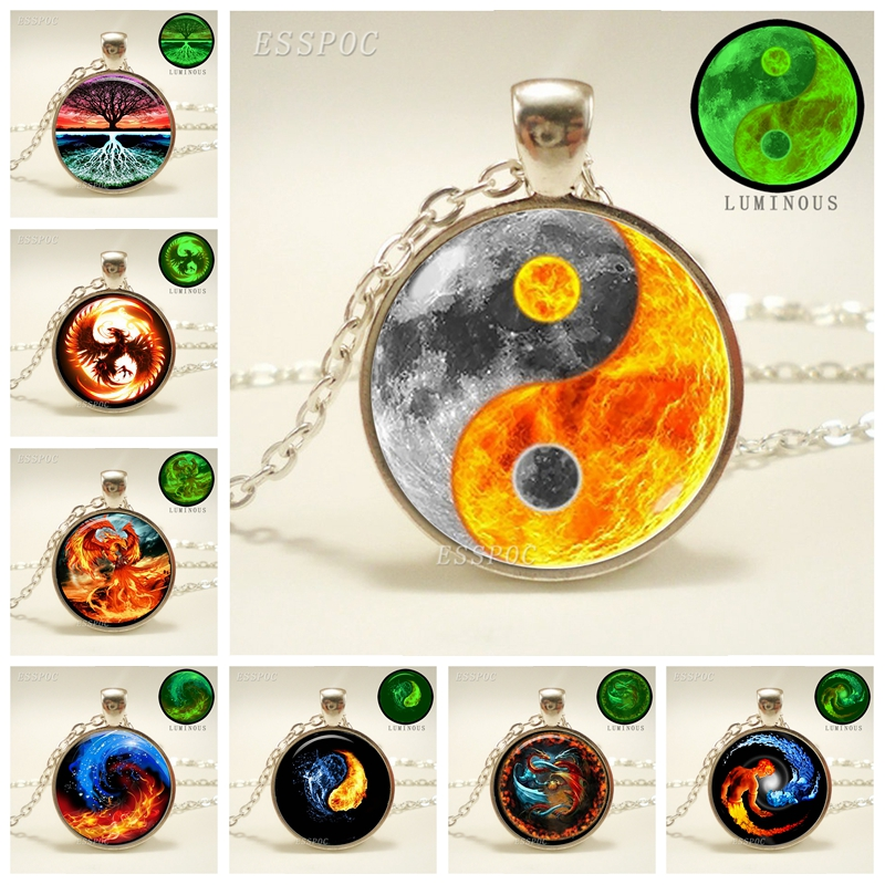 Glowing Yin Yang Necklace Phoenix Glass Dome Pendant Tree of Life Silver Plated Chain Necklace Glow In The Dark Yin Yang Jewelry