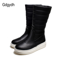 Gdgydh Women Snow Boots Flat With Slip On 2017 New Winter Shoes Woman Fur Inside Mid