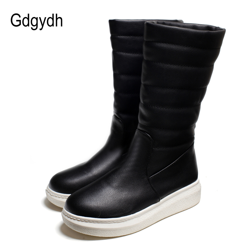 Gdgydh Women Snow Boots Flat With Slip On 2017 New Winter Shoes Woman Fur Inside Mid Calf Ladies Shoes For Winter Plus Size 43 2017 new arrival hot sale women boots solid bowtie slip on soft cute women snow boots round toe flat with winter shoes wsz31