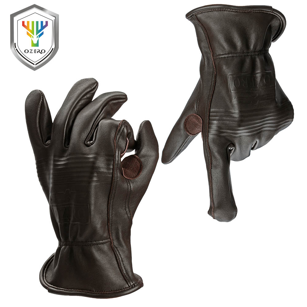 Goat leather work gloves - Ozero New Men S Garden Work Gloves Goat Leather Security Cutting Working Repairman Garage Racing Gardening Gloves