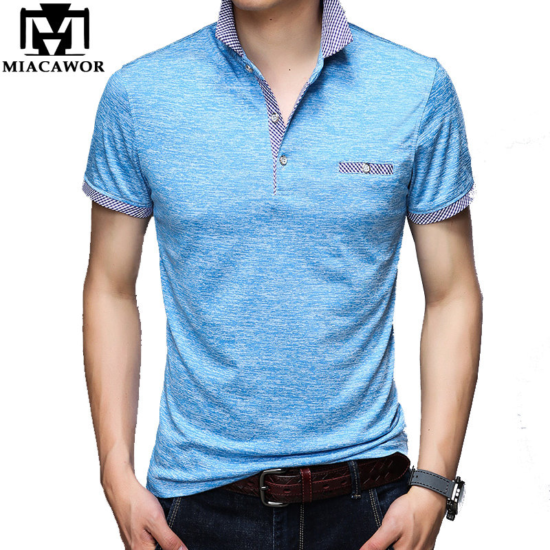 MIACAWOR New Original Men  Business Casual  Polo Shirts Solid Cotton Tee Shirt Homme Slim Fit Short-sleeve Camisa  T706