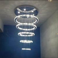Современная Chrome люстра кристаллов алмаза 4 кольца светодио дный лампа Нержавеющаясталь висячие светильники Регулируемый Cristal светодио дн