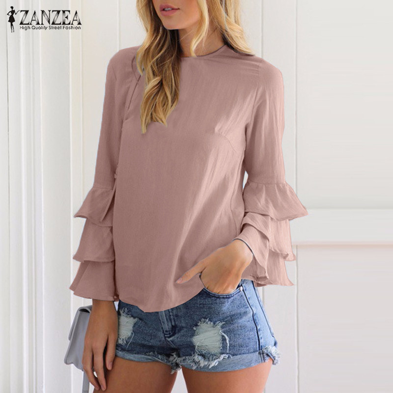 ZANZEA Women Blouses Shirts 2017 Autumn Elegant Ladies O Neck Flounce Long Sleeve Solid Blusas Casual