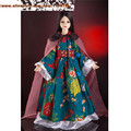 Ancient Swordswomen costume dress for 1/3 female doll ethnic 2 pcs green red dress with long Shawl for sd doll bjd clothes