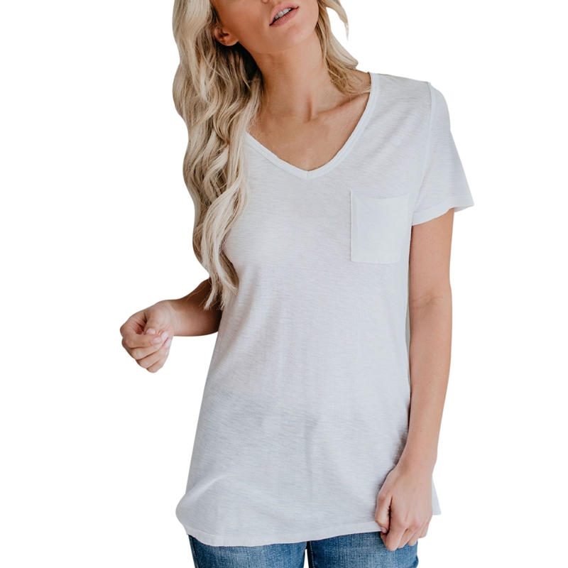 Women Clothes 2019 Summer Short Sleeve T Shirt Female Casual All match Solid Color Round Color T shirts Pocket Fashion Tops in T Shirts from Women 39 s Clothing