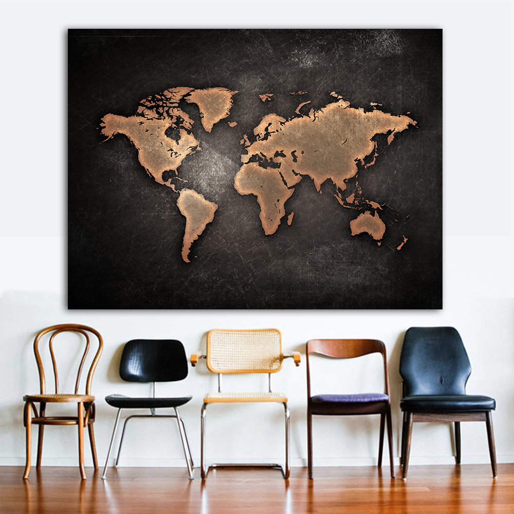 Print On Paintings World-Map Canvas Wall-Decor Office-Pictures Huge For Home The Black