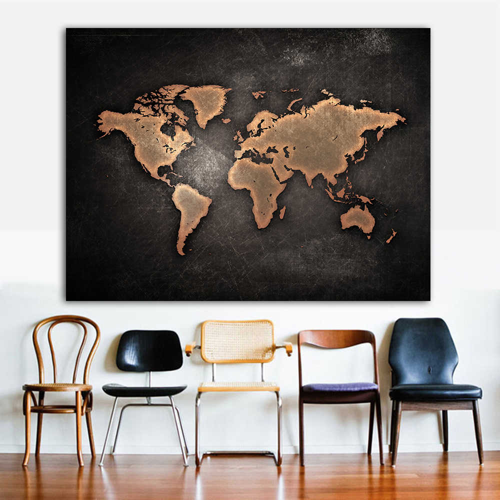 1 PCS/Set Huge Black World Map Paintings Print On Canvas Abstract World Map Canvas Office Pictures on the Wall decor for home