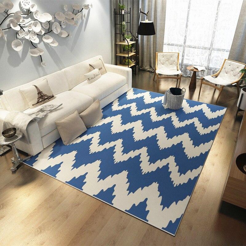Mediterranean Blue style Carpets Living room coffee table Anchor pattern Printed Rug Modern bedroom Super Soft Flannel Carpet - 5