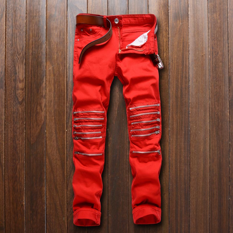 2017 new high quality play a nightclub man hole in the knee red cut bad elastic