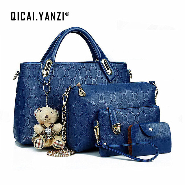 2017 New 4PCS Set Leather Shoulder Bag Handbag Design Fashion Women Lady  Tote Satchel Clutch Coin Purse Top Quality Free N578 c7b9aef4182a3