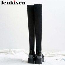 Lenkisen 둥근 발가락 높은 바닥 플랫폼 단단한 암소 가죽 스트레치 패브릭 허벅지 높은 부츠 패션 여성 무릎 부츠 l08