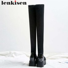 Lenkisen round toe high bottom platform solid cow leather stretch fabric thigh high boots fashion women over-the-knee boots L08(China)