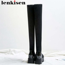 Lenkisen round toe high bottom platform solid cow leather stretch fabric thigh high boots