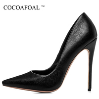 COCOAFOAL Woman 12 CM Ultra High Heels Shoes Plus Size 33 43 Fashion Sexy Pumps Stiletto Black Pointed Toe Wedding Pumps 2018