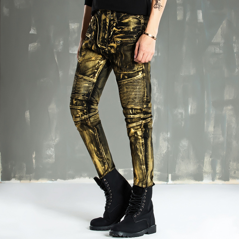 New Biker   Jeans   Motorcycle style Gold coating men   jeans   Slim Fit Mid-waist pants Men Brand Denim   Jeans