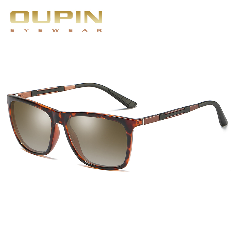 Highly Recommended Oupin Mirror Polarized Sunglasses Men Square driver Sun Glasses Women UV gafas de sol With Counters Case
