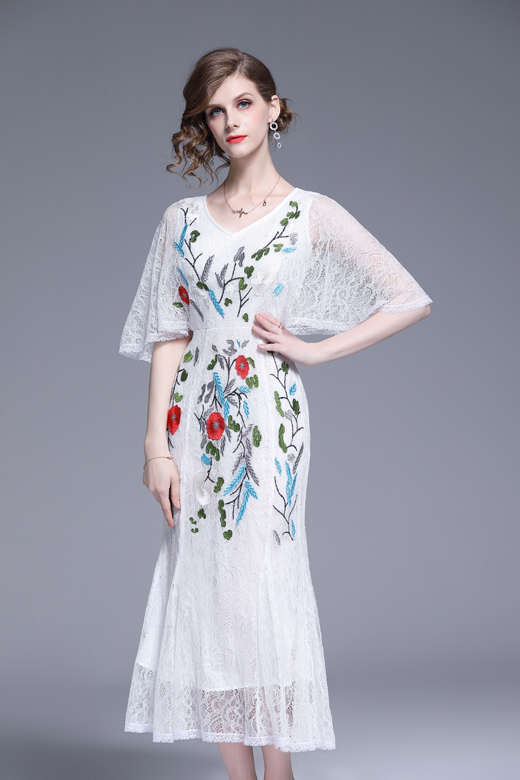 V-Neck Floral Embroidered Lace Dress 15