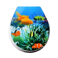 toilet lid cover 2017 high quality PP goldfish fashion toilet seat cover set hot selling colorful marble effect toilet seat
