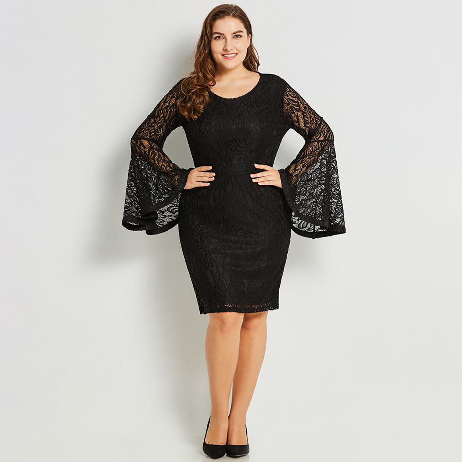 Women Lace Bodycon Dress Long Flare Sleeve Plus Size Hollow Out Spring Dress  Black White Office Party Sexy Pencil Dress XXL XXXL. -1. 1 ... 5c5efd68f128