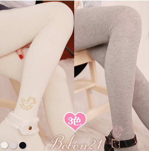 Princess sweet lolita pantyhose BOBON21 new winter lovely Little Trojan Cotton Warm tights  3 kinds of color choice AC1132