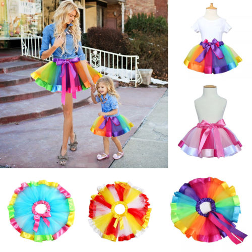 Pudcoco Family Matching Clothes Baby Mom Lady Girls Tutu Skirt Dance Ballet Dress Rainbow Costume  Skirt Elegant Clothing