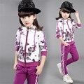 Niños primavera y otoño 2016 niñas establece niño Foral imprimir trajes del deporte de niños determinados de la ropa 4 colores edad AA1090