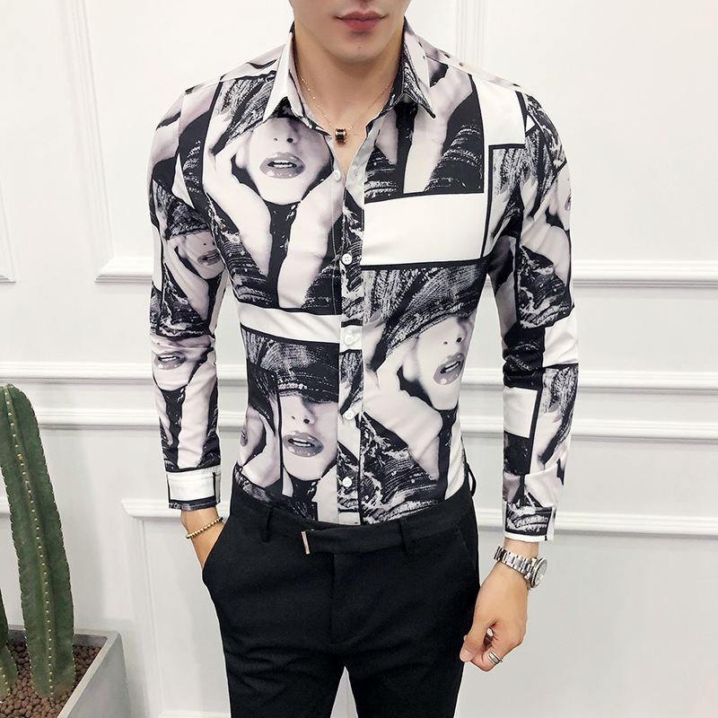 British Style Men Shirt Slim Fit Casual Beauty Girl Print Prom Tuxedo Dress Shirts Men Long Sleeve Night Club Host Party Shirts