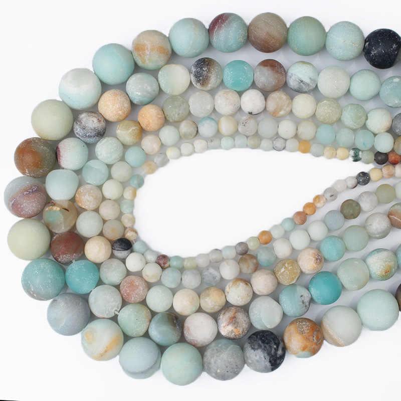 CAMDOE DANLEN Naturstein Matte Frost Amazonite Runde Perlen 4 6 8 10 12 MM Fit Diy Charme Perlen Für Schmuck Machen Zubehör