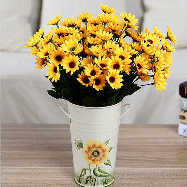 Baru 7 Kepala dan 14 Kepala Bunga Matahari 1 Bouquet Palsu palsu Bunga  Matahari Bunga Buatan 1f22e96dae