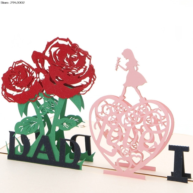 3d Pop Up I Love Dad Greeting Card Valentines Christmas Gift