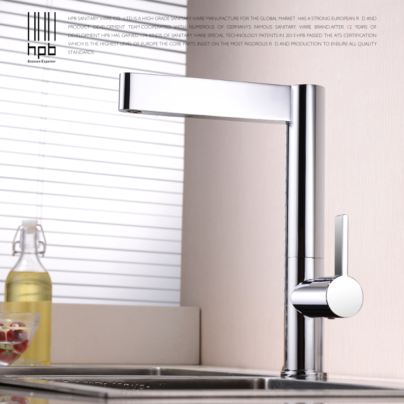 HPB Brass Kitchen Faucet Mixer Tap Deck Mounted for Sink or Basin Single Handle Single Hole