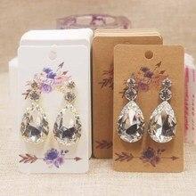 50pcs new Mulit styles flower print earring tag white/kraft Marbel design DIy Thank you love display
