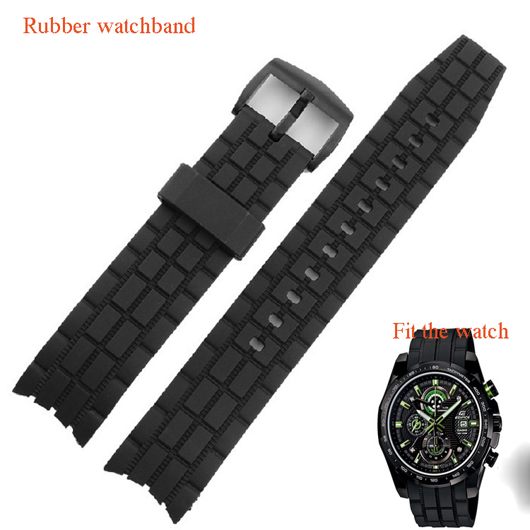 цена Black special curved end watchbands sport watches men straps fit EF-523 watch accessories waterproof free shipping bracelet 22mm