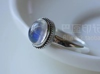 925 silver vitreous natural strong blue light rainbow Moonstone Ring