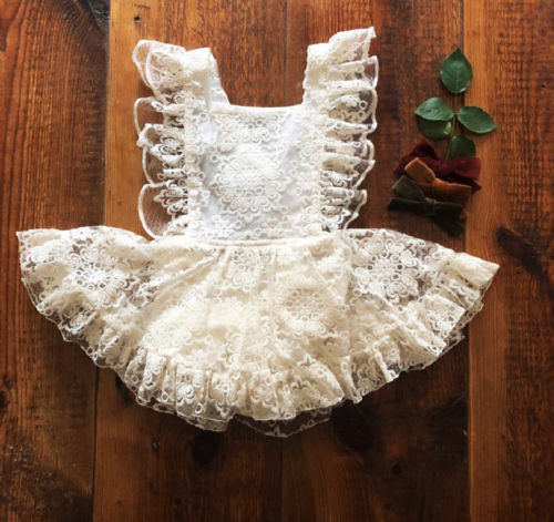 2018 Newest Newborn Toddler Kids Baby Girls Strap Floral Lace Romper Dress Sundress
