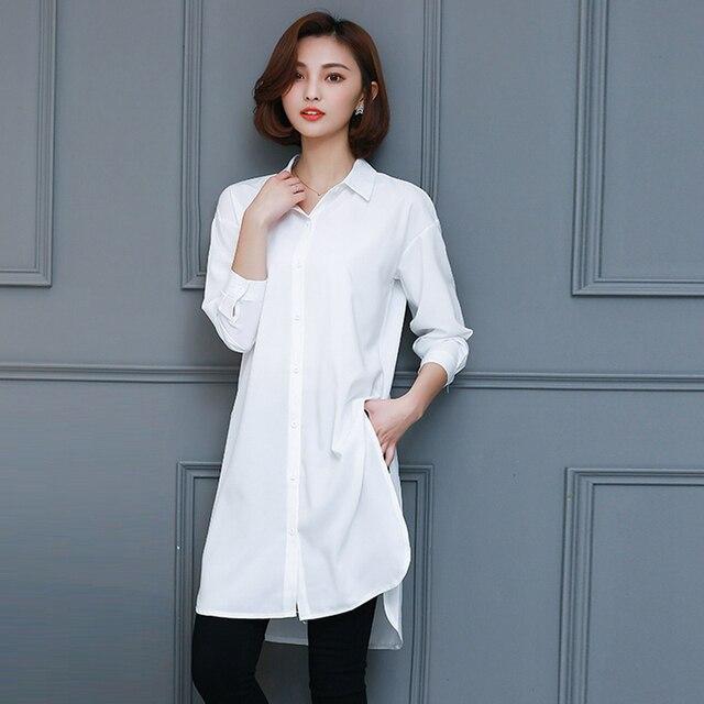 baf9936aaee63e Blouses 2018 New Fashion Korean Style Women Long Sleeve Shirt Open Slit  Design Casual Long Shirts Blouse Plus Size Women s Tops