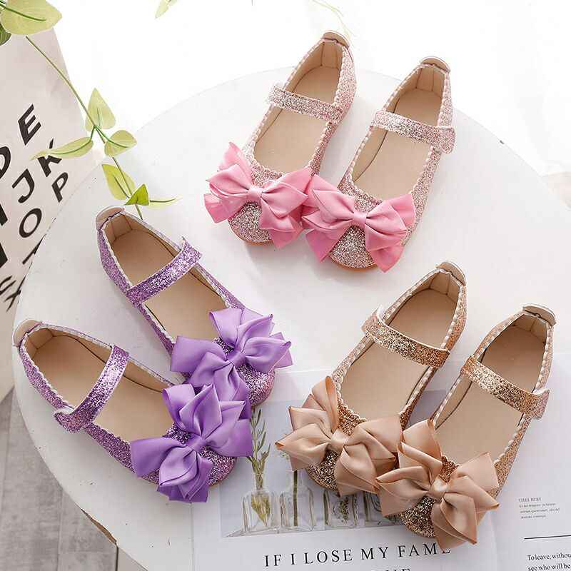 3967b30ad1 Flowers Children Toddler Baby Little Girl Kids Sequins Bowknot Dress Shoes  For Girls School Gold Party And Wedding Shoes New