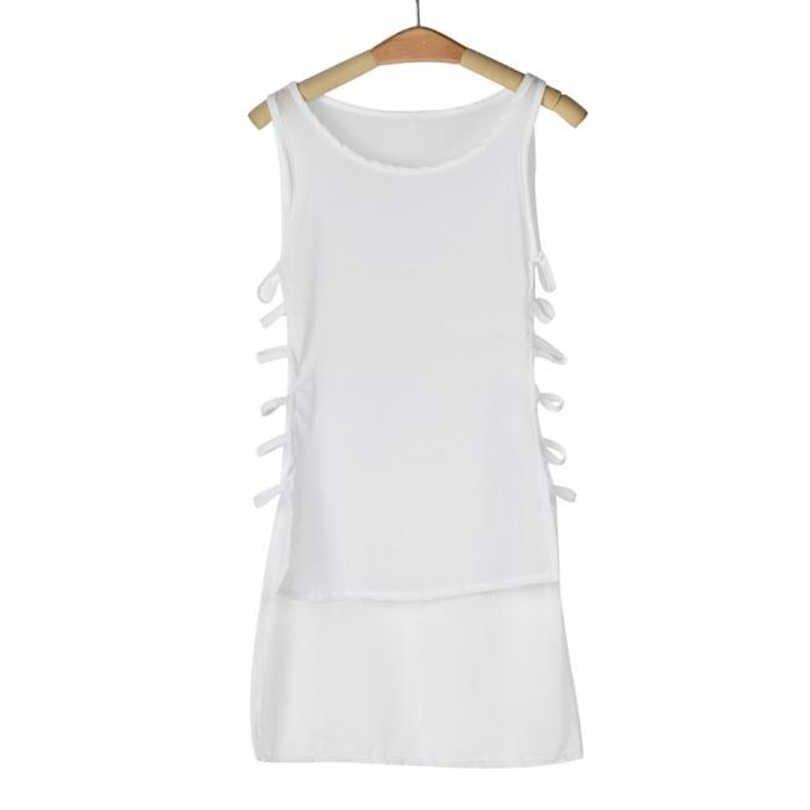 MIARHB נשים קיץ ללא שרוולים שמלה סקסי מזדמן שיפון וסט גופיית חולצה גופיות מיני שמלת שמלות חולצה A20
