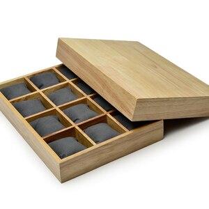 Image 4 - FANXI деревянный Ювелирный Браслет Дисплей лоток с микрофиброй 12 сетки подушки для выставки браслет часы Организатор оптовая торговля