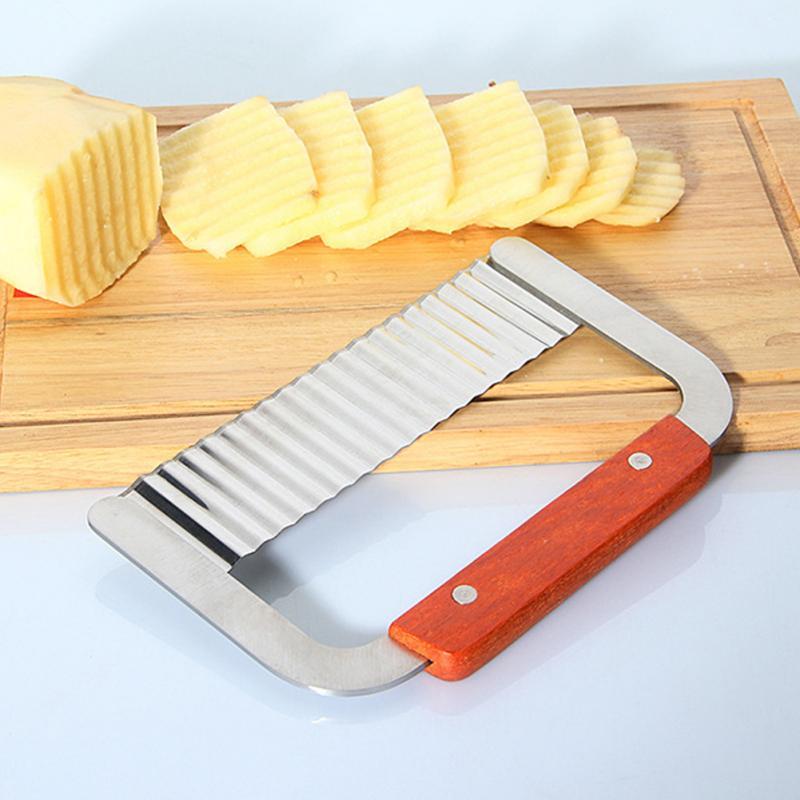 Dobra de Aço inoxidável Cortador de Batata vegetal slicer Decore Chip Ferramenta Punho de Madeira Cortador de Massa De Corte Ferramentas de Decoração