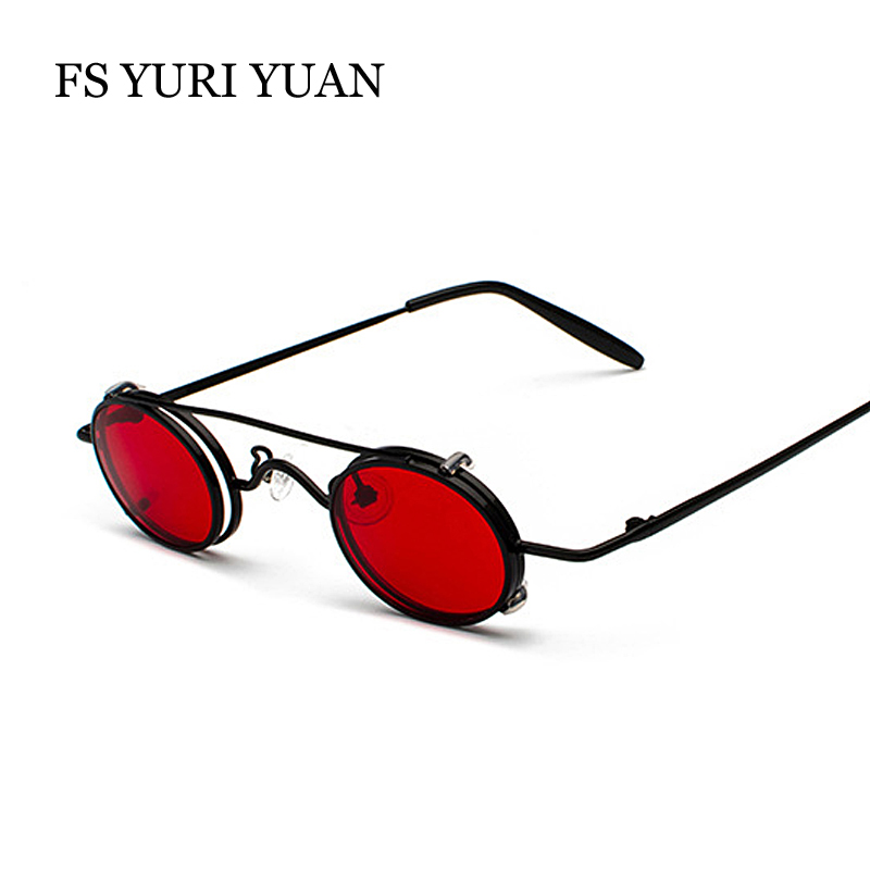 FS YURI YUAN Retro Red Lens Steampunk Sunglasses Men Small Size Metal Frame Oval Glasses Double Lens Removable Punk Sun Glasses