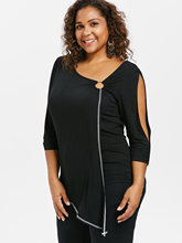 Women's Asymmetric Plus Size Blouse with Skew Collar