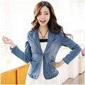 Mulheres workwear denim jaqueta jeans mulheres jaqueta feminina bolero casaco 2015 outono casaco de inverno Casacos frete grátis